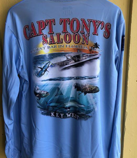 Capt Tonys Saloon Long Sleeve Blue DriFit Back