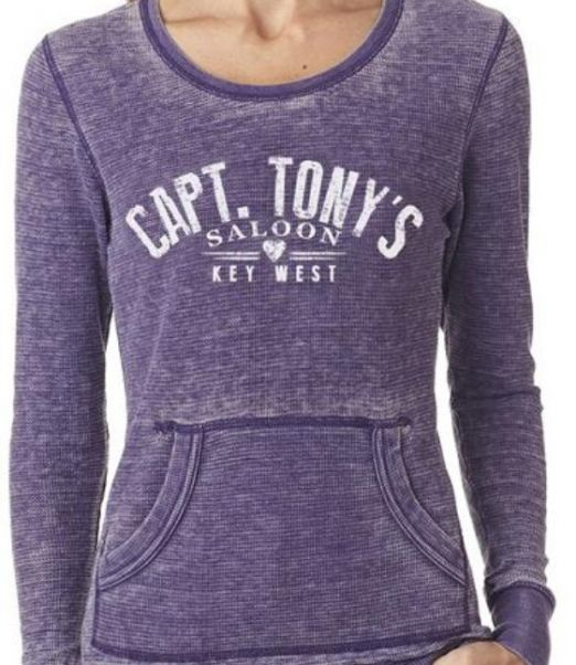 Ladies Long Sleeve Thermal with Captain Tony's Saloon Logo