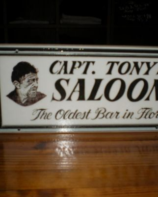 Capt Tonys Saloon White Sign